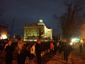 Getting ready to run in front of the Old Mississippi Capitol.